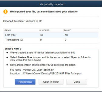 Quickbooks shows the results of an import. QuickBooks Desktop 2019 upgrade
